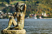 Sculpture of mermaid in Tegernsee, Bad Wiessee, Tegernsee, Upper Bavaria, Bavaria, Germany