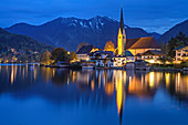 Tegernsee with Rottach-Egern at night, Bodenschneid in the background, Tegernsee, Upper Bavaria, Bavaria, Germany