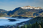 Fog over Berchtesgaden, Untersberg in the background, Berchtesgaden, Berchtesgaden National Park, Berchtesgaden Alps, Upper Bavaria, Bavaria, Germany