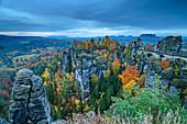 Autumn mood at the Bastei, Bastei, Saxon Switzerland National Park, Saxon Switzerland, Elbe Sandstone, Saxony, Germany