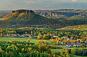 View down from Gohrisch, with Lilienstein in the background, Gohrisch, Saxon Switzerland National Park, Saxon Switzerland, Elbe Sandstone, Saxony, Germany