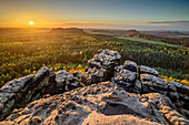 Sunset at Gohrisch with rocks in the foreground, Gohrisch, Saxon Switzerland National Park, Saxon Switzerland, Elbe Sandstone, Saxony, Germany