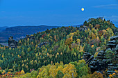 Full moon over Gohrisch, from Gohrisch, Saxon Switzerland National Park, Saxon Switzerland, Elbe Sandstone, Saxony, Germany