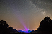 Tree in front of a cloudless starry sky with laser show, Germany, Brandenburg, Spreewald