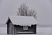 Small wooden hut in deep snow in winter, Malå, Lapland, Sweden