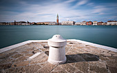 View of the Campanile de San Marco from San Gorgio Maggiore, Venice Lagoon, Veneto, Italy, Europe