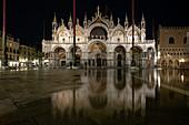 View of St. Mark's Basilica at night, Acqua Alta, Basilica San Marco, St. Mark's Square, Piazza San Marco, Venice, Veneto, Italy, Europe