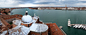 Panorama view from the campanile over the dome of the Basilica San Giorgio Maggiore on the lagoon of Venice, Veneto, Italy, Europe