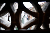 View from the Bridge of Sighs into the city on the way from the Doge's Palace to the prison, Palazzo Ducale, San Marco, Venice, Veneto, Italy, Europe