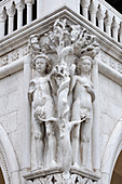 View of a sculpture of Adam and Eve on the facade of the Doge's Palace, Palazzo Ducale, San Marco, Venice, Veneto, Italy, Europe