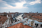 View of the Grand Canal with the Rialto Bridge, San Marco, Venice, Veneto, Italy, Europe