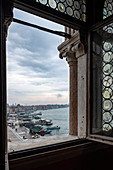 View from the window of the Doge's Palace on the Venice lagoon, Palazzo Ducale, San Marco, Venice, Veneto, Italy, Europe