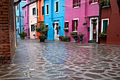 View of the colorful facades in Burano, Venice Lagoon, Veneto, Italy, Europe