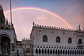 View of the Doge's Palace, Palazzo Ducale with rainbow, San Marco, Venice, Veneto, Italy, Europe
