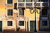 Detail shot of a house facade along the Grand Canal, Venice, Veneto, Italy, Europe