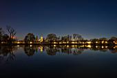At night on the city shore of Iphofen, Kitzingen, Lower Franconia, Franconia, Bavaria, Germany, Europe