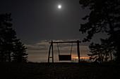 At night on the Hollywood swing, Schwanberg, Rödelsee, Kitzingen, Lower Franconia, Franconia, Bavaria, Germany, Europe