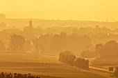 Foggy mood near Possenheim, Iphofen, Kitzingen, Lower Franconia, Franconia, Bavaria, Germany, Europe