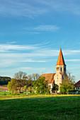 Blick auf die Kirche von Kirchrimbach, Burghaslach, Neustadt an der Aisch, Mittelfranken, Franken, Bayern, Deutschland, Europa