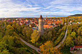 The Owl Tower in late autumn, Iphofen, Kitzingen, Lower Franconia, Franconia, Bavaria, Germany, Europe