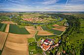 View of Kaltenhausen in the Main Valley, Eisenheim, Würzburg, Lower Franconia, Franconia, Bavaria, Germany, Europe