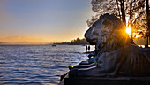 Tutzinger lion overlooking Lake Starnberg,, Tuting, Bavaria, Germany