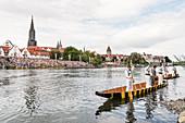 Fischerstechen on the Danube in Ulm, Ulm Minster, Metzgerturm, Swabian Alb, Baden-Württemberg, Germany
