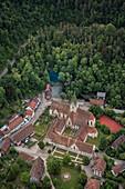 Aerial view of Blautopf, monastery and old town of Blaubeuren, Alb-Donau district, Baden-Württemberg, Germany