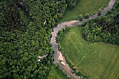 Donauschleifen, aerial view of the Upper Danube Valley Nature Park, Danube, Germany