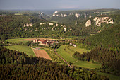 Beuron Abbey, aerial view of the Upper Danube Valley Nature Park, Sigmaringen district, Danube, Germany