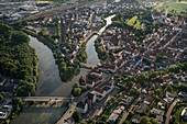 Aerial view of old town and confluence of the Danube and Wörnitz, Donauwörth, Donau-Ries district, Bavaria, Germany