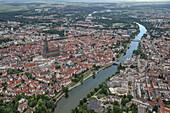 Aerial view of Ulm and Neu-Ulm, Danube, Swabian Alb, Baden-Württemberg, Germany