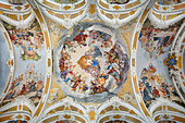 Ceiling fresco in the study church of the Assumption in Dillingen an der Donau, Bavaria, Germany