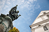 Ulrich monument in front of the Church of the Assumption, Dillingen an der Donau, Bavaria, Germany