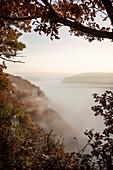 View over fog blanket, fog, Upper Danube Valley Nature Park, Danube, Germany