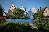 bunte Wohnhäuser in Altstadt von Donauwörth, Landkreis Donau-Ries, Bayern, Donau, Deutschland