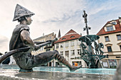 Figure at Theodul fountain on the market square of Ehingen, Danube, Alb-Donau district, Baden-Württemberg, Germany