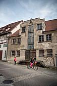 rundown warehouse in the old town of Ehingen, Danube, Alb-Donau district, Baden-Württemberg, Germany