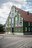 green art nouveau house in Gundelfingen an der Donau, Dillingen district, Bavaria, Germany