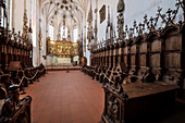 Choir stalls and high altar in Blaubeuren Monastery, Alb-Donau district, Baden-Württemberg, Germany