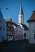 historic houses and church tower of St Andreas, Lauingen, Dillingen district, Bavaria, Danube, Germany