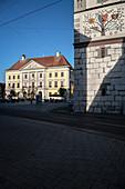 Rathaus und Schimmelturm in Lauingen, Landkreis Dillingen, Bayern, Donau, Deutschland