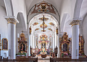 Altar of the Church of St Dionysius, Munderkingen, Alb-Donau district, Baden-Württemberg, Danube, Germany