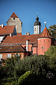 Old town with the church tower of Christ Church, Neuburg an der Donau, Neuburg-Schrobenhausen district, Bavaria, Germany