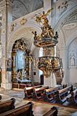Pulpit and altar in Hofkirche am Karlsplatz, Neuburg an der Donau, Neuburg-Schrobenhausen district, Bavaria, Germany