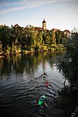 Kajakfahrer paddeln auf der Donau, Blick zur Altstadt mit Hofkirche, Neuburg an der Donau, Landkreis Neuburg-Schrobenhausen, Bayern, Deutschland