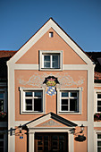 Coat of arms as a mural on the town hall, Rain am Lech, Donau-Ries district, Bavaria, Danube, Germany
