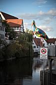 colorful stork (sculpture) in Riedlingen, Biberach district, Baden-Wuerttemberg, Danube, Germany