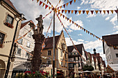 Fountain and historic houses in the old town of Sigmaringen, Baden-Württemberg, Danube, Germany