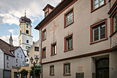 Painting on the Fidelishaus and St Johann church tower in Sigmaringen, Baden-Wuerttemberg, Danube, Germany